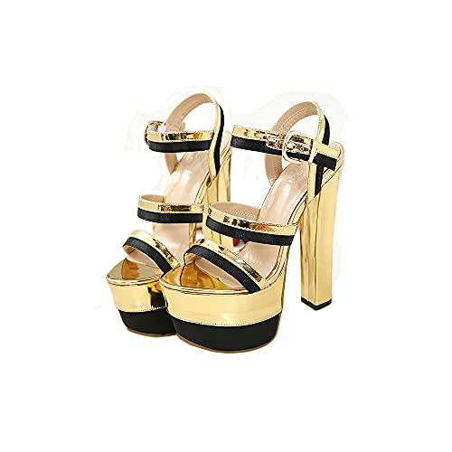 Gouden sandalen met hoge hakken, stilettosandalen met dikke zolen en enkelbandjes met enkelband, zeer geschikt voor bruiloften, feesten, dates of werk, perfect bij jurken, leggings en rokken