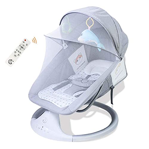 Electric Baby Swing Baby Bouncer Stuhl Baby-Wiege mit Fernbedienung, mit 5-Gang-Anpassung, 3-Gang-Timing, Bluetooth, Baby Swing Chair für Kinder im Alter von 0-3 Jahren WDH666