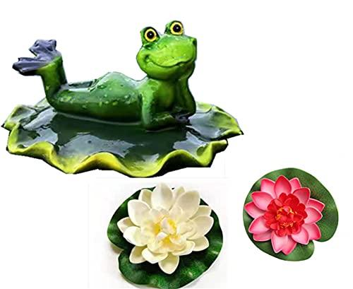ZNYD Miniteich Deko Set Frosch auf Blatt Teichfigur mit 2 Schwimmend Lotusblüte für Miniteich Terrassenteich Zinkwannen Solarbrunnen Garten Balkon Teiche Deko(Froschkönig) Freizeitfrosch