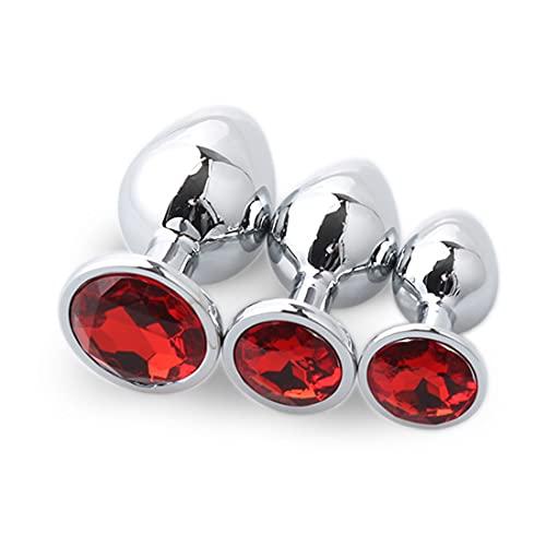 3 Piezas De Tapones Redondos De Acero Inoxidable P.Lug para Pareja Principiante (Rojo Oscuro)