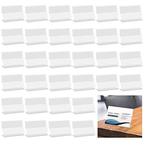 Mini Soporte de Exhibición de Acrílico para Letreros Soporte de Tienda de Etiquetas de Precio de 40 piezas Soporte de Etiqueta de Precio Utilizado en el Hotel del Supermercado (6 * 4,3 * 2 cm)