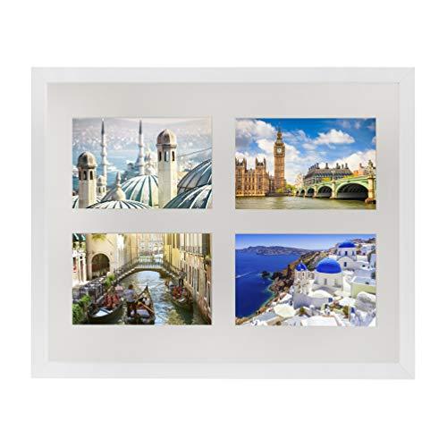 28 x 35 cm Cornice Multipla per 4 Foto 10x15 cm, Bianco