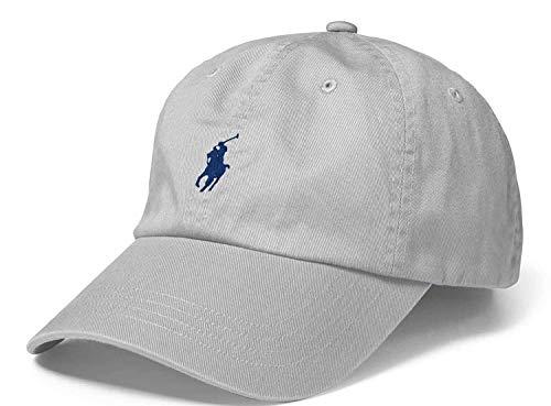Polo Ralph Lauren Men`s Cotton Chino Baseball Cap (Light Grey (2001)/Navy, One Size)