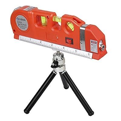 Qooltek Multipurpose Laser Level Line Laser Measure + 8ft Tape Ruler Adjusted Standard and Metric Rulers with Tripod Stand