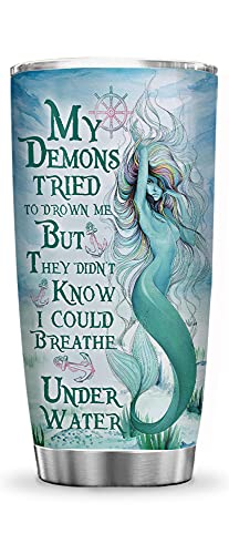 64HYDRO 20oz Mermaid Inspiration Mermaid Lover Tumbler Cup with Lid, Double Wall Vacuum Thermos Insulated Travel Coffee Mug - HNM2711005