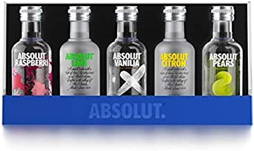 Absolut Five Vodka Set / 5er Pack Absolut Vodka Mix mit Absolut Vodka Original, Absolut Kurant, Absolut Citron & Absolut V...