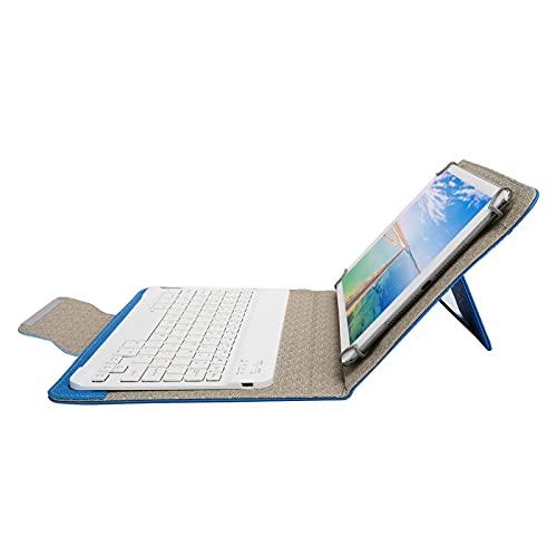 Goshyda Estuche para Teclado de 10 Pulgadas - Estuche para Teclado Bluetooth + Funda Protectora de PU con Soporte, Tableta portátil Universal para 9.7‑10.1in(Azul)