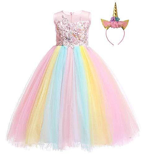 Niñas Disfraz de Halloween Princesa Vestido de Unicornio para Chicas Cumpleaños de Boda Carnaval de Fiesta de Cosplay Navidad Comunión Flor Vestidos de Baile con Diadema Arcoiris 12-13