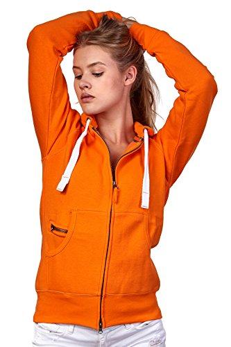 Happy Clothing Damen Sweatjacke mit Kapuze Zip Hoodie Kapuzenjacke Basic Einfarbig S M L, Größe:M, Farbe:Orange
