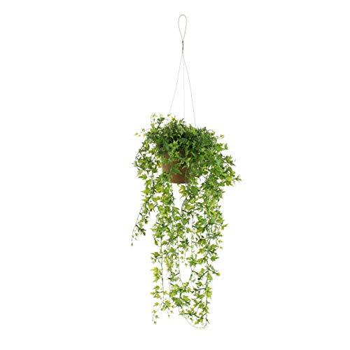 artplants.de Künstliche Blumenampel Johanna mit Efeu, grün, 50cm - Deko Efeu Hänger - Plastik Kletterpflanze