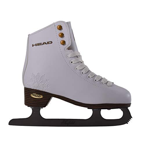 HEAD Damen Eiskunstlauf Seefeld I Schlittschuhe mit Edelstahlkufe I Schneeflocken-Design I ideal für Einsteigerinnen-Weiß, 38