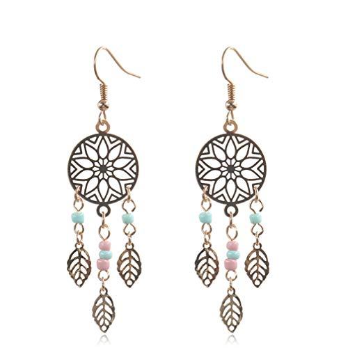 LJSLYJ Ethnic Vintage Gold Leaf Dangle Drop Earrings Hanging for Women Dream Catcher Shape Hook Earrings Jewelry Accessories