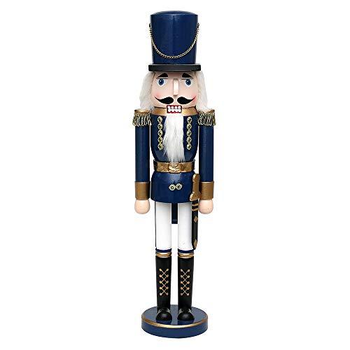 Dekohelden24 Wunderschöner Nussknacker Soldat, in blau metallic, klassisch, ca. 50 cm