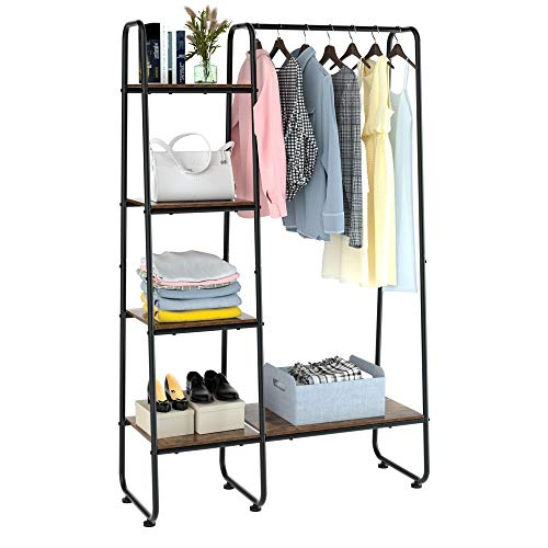 Homfa Metal Garment Rack Freestanding Clothing Coat Rack with 5 Wood Storage Shelves and Hanging Bar Open Wardrobe Closet Storage Organizer For Bedroom Living Room Entryway