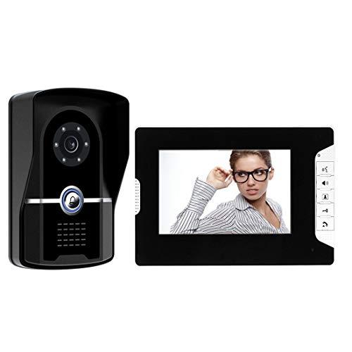 SEXTT Video-Türklingel, Zwei-Wege-Sprechanlage Intelligente Türklingel 7-Zoll-Breitbild-HD-Nachtsicht-Türklingel