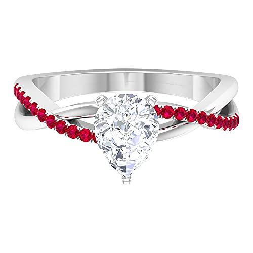 Anillo solitario de diamante de corte pera de 6 x 8 mm, para mujer, anillo infinito torcido, oro blanco, Metal precioso. Piedra preciosa. Piedra, Moissanite,