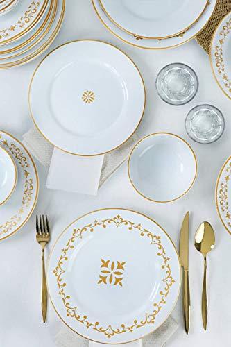 Vajilla de 24 piezas para 6 personas, platos hondos, platos llanos, platos de postre y cuencos, servicio moderno vintage, servicio combinado, color blanco y dorado