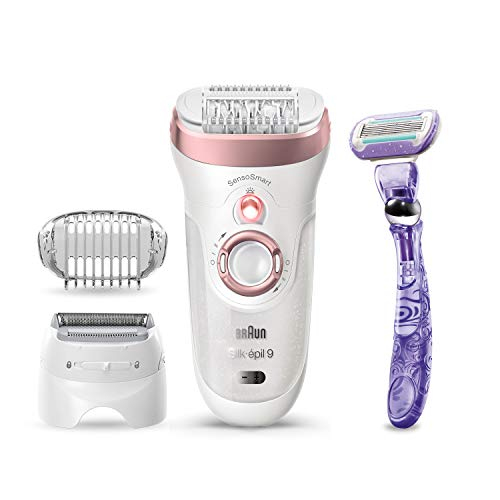 Braun Epilator Silk-épil 9 9-870, Facial Hair Removal for Women, Wet & Dry, Facial Facial Hair Remover, Women Shaver & Trimmer, Cordless, Rechargeable, with Venus Extra Smooth Razor