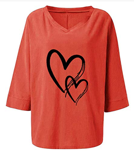 3/4 Sleeve Tops for Women Plus Size V Neck Loose Fit Letter Printed T Shirts Casual Short Sleeve Tee Tops D-Gray