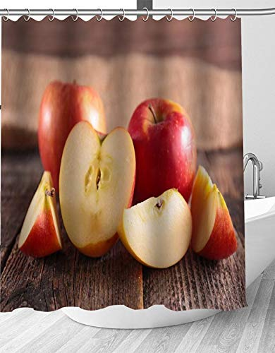 YEDL Rote Frucht Apfel Duschvorhang Moderne Stoff Badvorhänge Wohnkultur Gardinen 180 × 180 cm