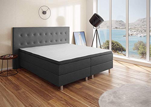 Best For You Boxspringbett Neo First Class Bett Polsterbett Größen (Graphit, 140x200cm)
