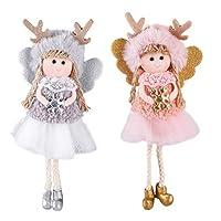 Creacom クリスマスツリー飾り かわいい エルク人形 クリスマスデコレーション クリスマスツリー オーナメント 飾り 装飾 壁掛け 玄関掛け 吊り装飾用 子供 プレゼント 2個入り