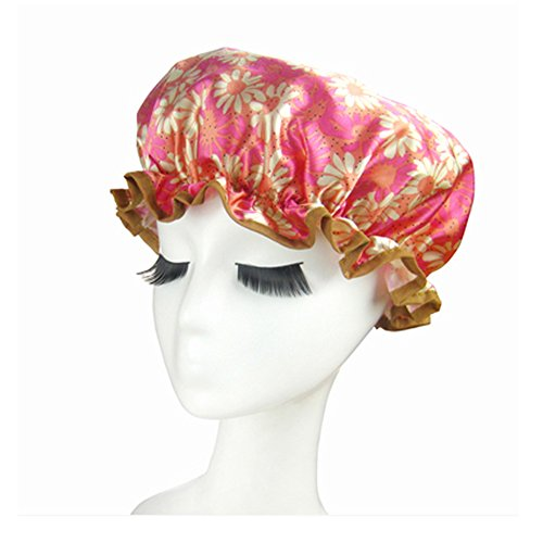 Bonnet de douche de qualité doubles couches Cap étanche Bath Sunflower, Rose