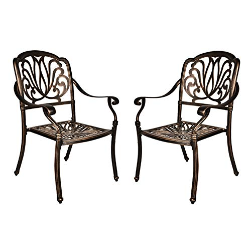 B BAIJIAWEI 2 Piece Cast Aluminum Dining Chairs - Patio Bistro Dining Chair with Armrest - Outdoor Stackable Armchairs for Backyard, Garden, Porch, Poolside