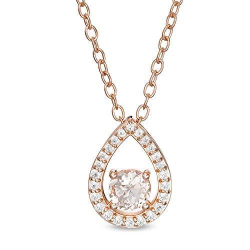Colgante de lágrima abierta de Morganita y Diamante Sim blanco de 6,0 mm en plata de ley 925 con chapado en oro rosa de 14 quilates.