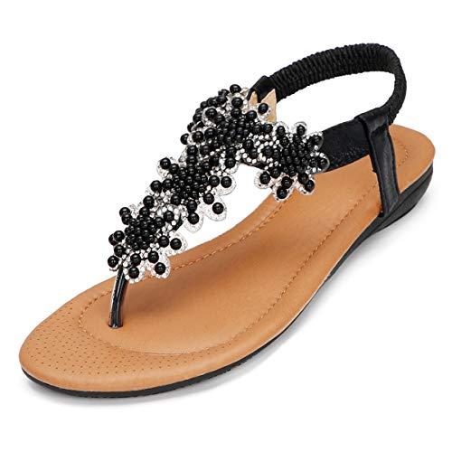CARETOO Damen Sandals, Frauen Sandalen Sommer Flip Flops PU Leder Bohemian Stil Flach Zehentrenner (Schwarz-1-1, Numeric_37)