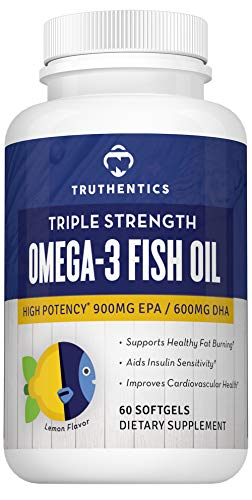 TRUTHENTICS Omega 3 Fish Oil 2500mg - Triple Strength High Omega-3 Fatty Acids - EPA 900mg + DHA 600mg - Promotes Healthy Heart, Joints, Eyes, Skin, Brain & Immune Function – 60 Burpless Softgels