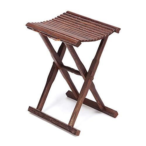 Tabouret pliant Camp sur le siège en bois massif bois, Banc Chaise de pêche tabouret pliant portable pour pique-nique Salle de bain Jardin intérieur Usage extérieur, 33x29x40 cm, entièrement assemblé