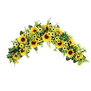 Silk Flower Arrangements æ— Artificial Sunflower Swag,Decorative Hanging Front Door Arch Garland with Greenery Leaves,Flower Swag Wedding Arch Decor for Wedding Wall Door Decoration