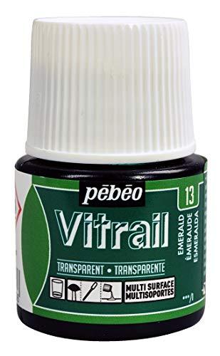PEBEO Vitrail Glasfarbe, 45ml, Buntglas-Effekt, smaragdgrün