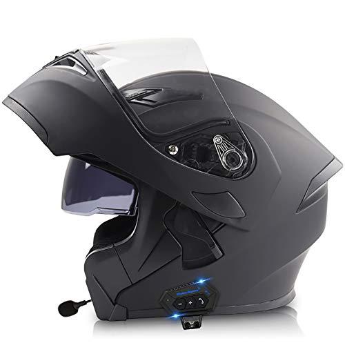 NBMNN Visera Antivaho Casco de Moto con Bluetooth Integrado Modular Flip Cara Moto Casco Motocicleta para Hombres Mujeres Lente Antivaho Certificacion Dot D,XL=57~59CM