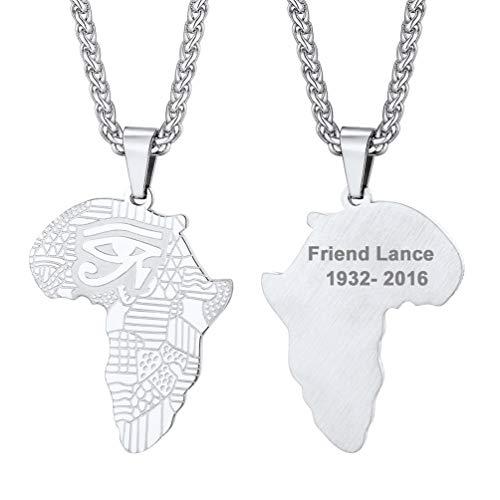 PROSTEEL Herren personalisiert Halskette Afrika Karte Anhänger mit Horusauge Udjat-Auge Edelstahl 60cm Weizenkette Namen Texte Gravur Amulett Modeschmuck Geschenk für Geburtstag Weihnachten