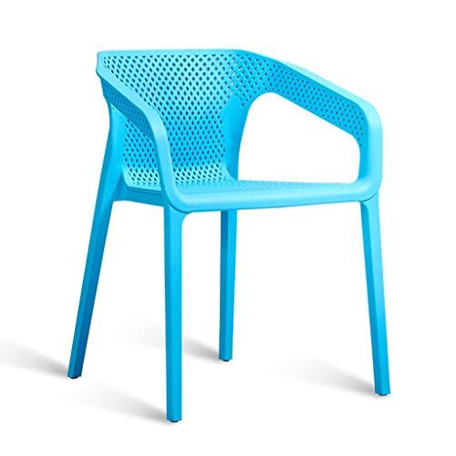Shi xiang shop Silla de Comedor de plástico con Brazo, Silla Simple y cómoda con Respaldo recogido, Silla de salón Resistente for Cocina, Comedor, Dormitorio, Sala de Estar (Color : Blue)