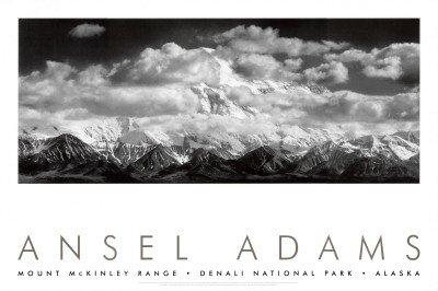 Mt. McKinley Range, Denali National Park, Alaska Art Poster Print by Ansel Adams, 36x24