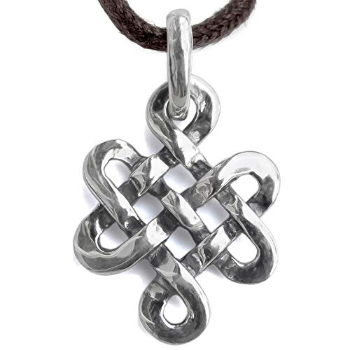 Tibetan Endless Knot Necklace 925 Sterling Silver Infinite Celtic Irish Love Knot Pendant Mystic Buddhist Amulet Nepal Jewelry for Women - Handmade - Mother's Day Gift
