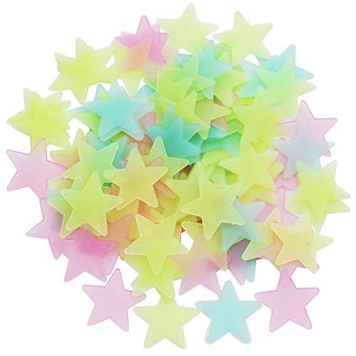 Iindes 100pcs Sterne leuchten im Dunkeln leuchtenden fluoreszierenden Kunststoff Wandsticker voller Farbe 3cm