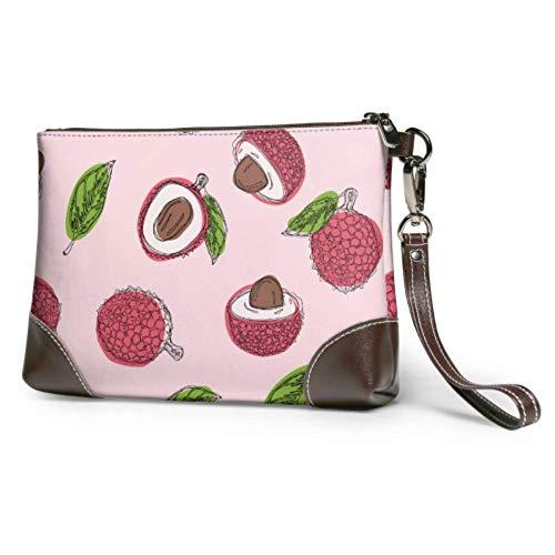 XCNGG Cartera impermeable suave, cartera, embrague, delicioso, rosa, rojo, litchi, bolso de mano de cuero con cremallera para mujeres y niñas
