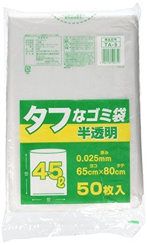日本技研工業 ゴミ袋 ゴミ箱用アクセサリ 半透明 45L 日本技研工業 タフなゴミ袋 半透明 45L 50枚 ポリ袋 TA-5