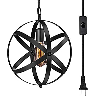 Industrial Plug in Pendant Light INNOCCY E26 E27 Industrial Hanging Light Metal Globe Vintage Pendant Light Fixture with 14.8Ft Hanging Cord and ON/OFF Switch 1 Pack