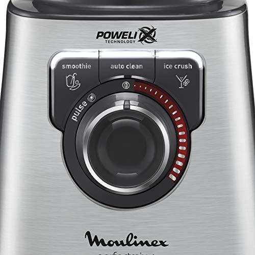 Moulinex Perfect Mix+ LM811D - Batidora de vaso de 1200 W, vidrio acabados exteriores de acero inoxidable, selector de la velocidad retroiluminable, 3 programas, modo manual y autoclean