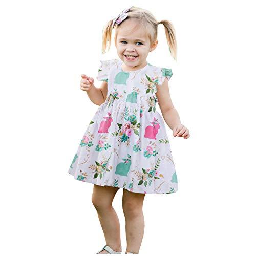 Mädchen Kinder Ostern Kleider Sommerkleid Kinder Karikatur Kaninchen Muster Fliegenhülse Kleid Sommer T Shirt Kleid Baby Mädchen Easter Osterhase Ärmellos Swing Kleid Festlich Kleid Partykleid