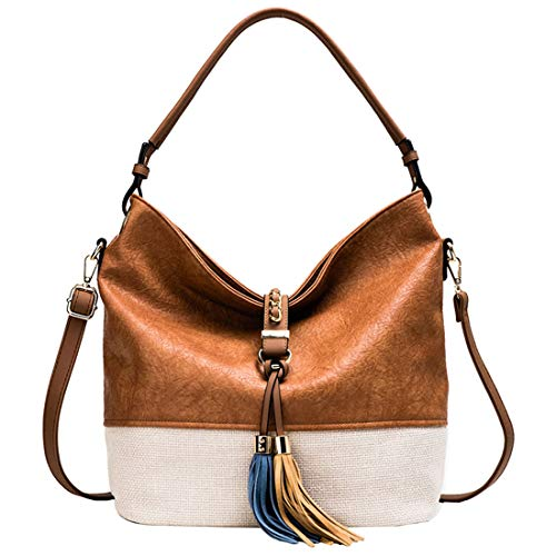 Newest Style 2019 Hobo Bag for Women Boho Purses and Handbags Fringe Big Shoulder Bag With Tassels Bucket Bag Crossbody Messenger Tote Bag Patchwork Leather HandBags with Tassels