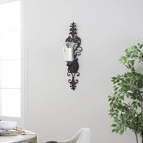 Deco 79 Victorian-Style Metal and Glass Ornate Candle Sconce, 31' H x 10' L, Textured Bronze Finish