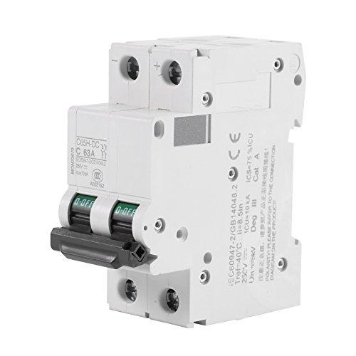 Disyuntor DC, Interruptor de Circuito de Aire en Miniatura, 1pc 250V DC 2P Bajo Voltaje 16A/32A/63A, Protección Contra Cortocircuitos del Interruptor de Energía Solar (63A)