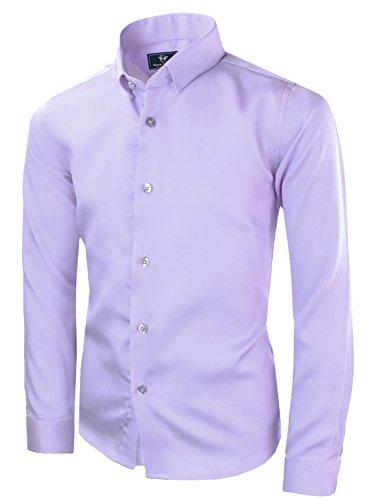 Black n Bianco Boys' Signature Sateen Long Sleeve Dress Shirt (10, Lilac)