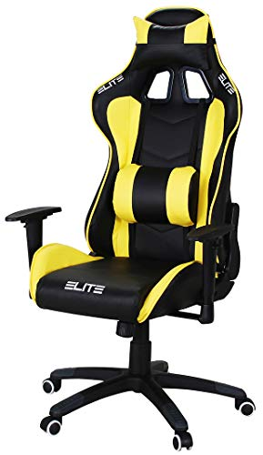 ECS ELITEGROUP Elite Racing Gaming Stuhl MG-200 - Bürostuhl – Kunstleder - Ergonomisch - Racer – Drehstuhl – Chair – Chefsessel – Schreibtischstuhl (Schwarz/Gelb)